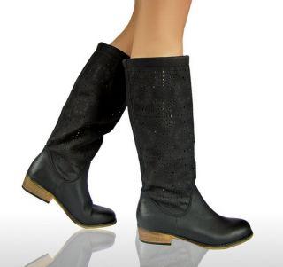 LUXUS NEU FLACH DAMEN STIEFEL Stiefelette Schuhe Boots SCHWARZ KAMEL