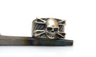 HERRENRING TOTENKOPF Skull Bones Memento Mori silber 835 Panzer Ring