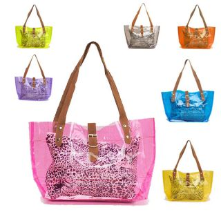 HOT Women Transparent Clear Jelly Shoulder Shopping Bag beach handbag