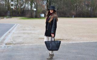 Blogger Mantel Parka mit gefütterten Lederärmel & Zara Top Set Gr. M