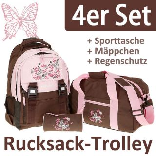 4er SET / Trolley ELEPHANT FLORA Schulranzen Trolly BRA