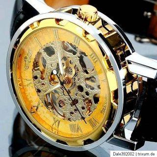 Herrenuhr Leder Armband Uhr Skelett mechanik silber   gold Neu