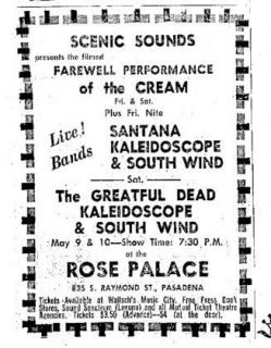 Grateful Dead,Santana,Kaleidascope,Cream,Concert Handbill,The Rose