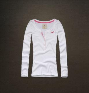 Hollister Damen Shirt Langarmshirt Pullover Weiss Gr. S by Abercrombie