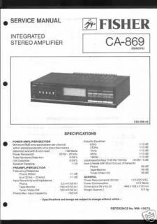 Fisher Original Service Manual für CA 869 CA 869