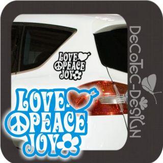 A855 2er SET Love Peace Joy Autoaufkleber Flower Power