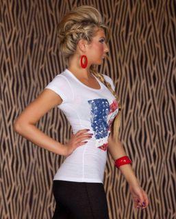 LONGSHIRT TOP T SHIRT USA AMERIKA FLAGGE PRINT SKULL TOTENKOPF