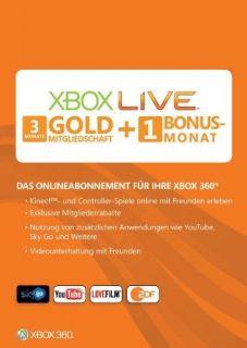 Xbox 360 Live Gold 3 + 1  4 Monate Months Karte Abonnement Code