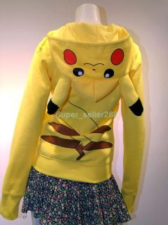 Japan Anime Cool Pokemon Pikachu Hoodie Hoody Cosplay Costume Clothes