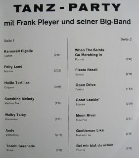 LP   Frank Pleyer Big Band   Tanz Party   Tempo Schallplatten