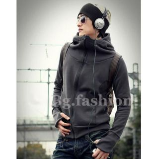 Fashion Mens Casual Zip Up Hooded Jacket Slim Hoodie Coat 4 Colors XS