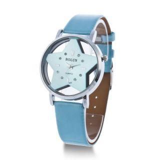 Pentagram Star Shape Design Quartz Unisex Round wrist watch Lady Women
