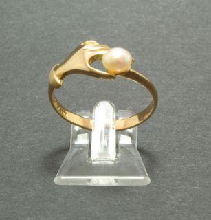 Ring 875 21 kt. Gold Gelbgold rötlich Zuchtperle Hand