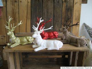 Glimmerhirsch Glitzer Rentier Figur Statue Deko Tisch Weihnachten 4