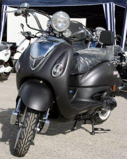 Retroroller 50ccm Motorroller Schwarz Matt Znen R06 Mofa Mokick