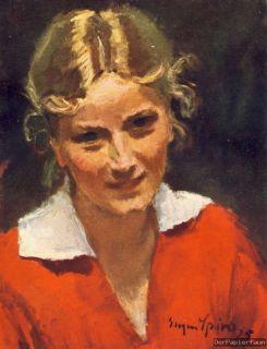 Bildnis Eugen Spiro Mädchen Breslau blond Gemälde