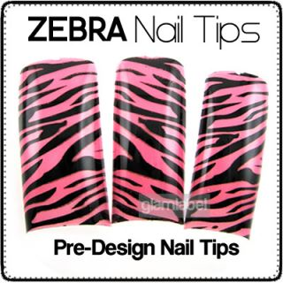 HOT PINK ZEBRA FRENCH ACRYLIC GEL NAIL ART TIPS NA023 2