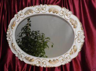 Wandspiegel groß XXL Spiegel Oval 115x85 Weiss Gold UVP898€