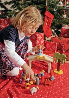 Weihnachtskrippe Krippe Kinderkrippe aus Holz Maria Josef Jesus