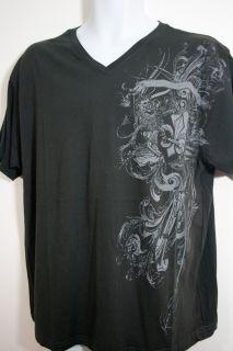 Men V Neck Black Tee Shirt Multi Design, Lily of France on Front