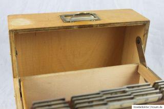 Alter Karteikasten aus Holz Ablage DIN A5 quer Soennecken Buchenholz