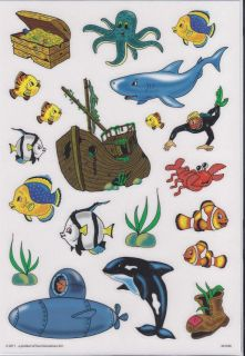 20 Fensterbilder Sea Life Aufkleber Hai Fisch Wal Schiff U Boot Krake