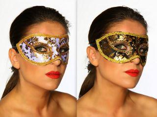 Venezianische Maske florale Muster gold / schwarz gold / weiß #11850