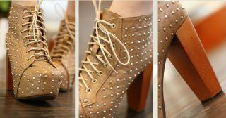 Damen Schuhe Nieten Plateau Schnür Pumps High Heels Stiefeletten