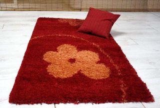 Teppich Langflor, Hochflor, Blume, Bordeaux, rot, orange 133x190cm NEU