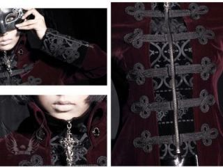 Visual Kei Punk Rave Rock Gothic Rot Jacket Coat Jacke Mantel Larp