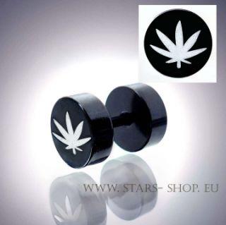 St Fake Plug Ohrstecker CANNABIS Marihuana HANF MS936