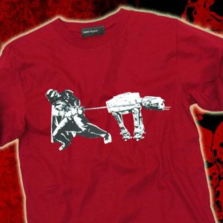 Star Wars Darth Vader WALKING THE DOG AT AT Mens Fun T Shirt M L