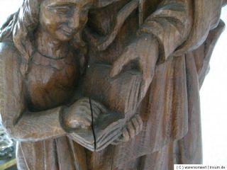 Grosse alte Holzfigur  Madonna / Anna mit Kind  schwere Ausf. sign
