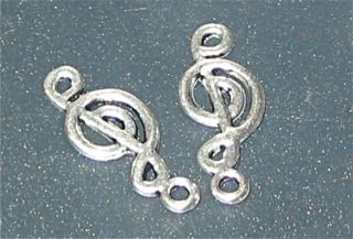 Notenschlüssel Anhänger Metall 19mm Silber Charms Note Musik