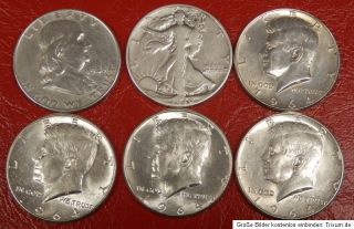 USA 6 x Half Dollar Kennedy u.a. 75 g Silber