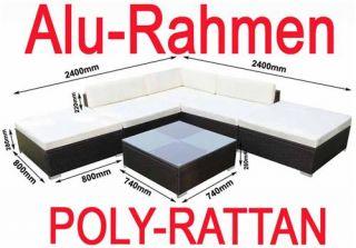 941) POLY RATTAN Aluminium Lounge braun Sofa Garnitur Polyrattan