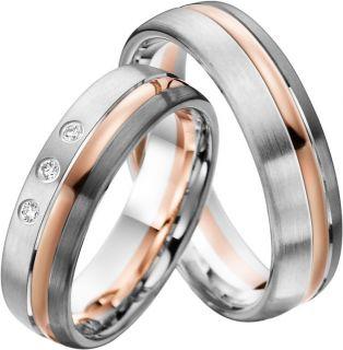 Eheringe Verlobungsringe aus Rotgold/Palladium/Silber mit Brillant