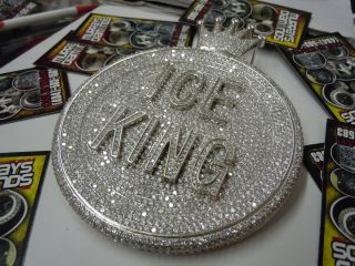ICE KING Fully Iced Out BIG HEAVY Pendant 925 Sterling Silver