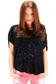 NEU Super Elegantes Laser Cut Shirt mit Sternen Schwarz s m l