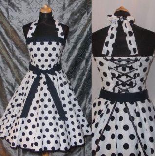 Rockabilly 50er Jahre Tanz Kleid Petticoat Gr 42 44 Weiss Schwarz