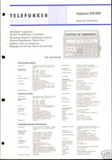 Telefunken Original Service Manual Bajazzo CR 950