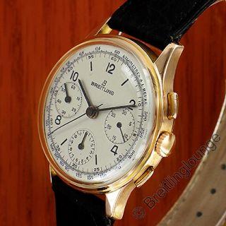 BREITLING Uhr Premier 787 Tricompax 1947 18 Kt Rot Gold