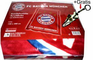 FCB FC Bayern München Acryldecke Velourdecke Kuscheldecke + Gratis DE