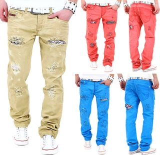 CIPO & BAXX COLOUR DENIM JEANS VINTAGE DESTROYED CHINO HOSE BEIGE BLAU