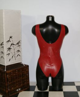 LATEX GUMMI RUBBER DAMEN BODY SUIT CATSUIT ouvert XL/44
