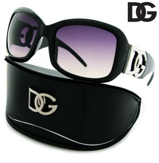 DG Designer BLACK SMOKE Oversized Sunglasses HARD CASE