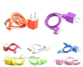2in1 EU plug wall charger adapter+USB Data Charger Cable for iPhone 3G