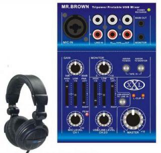 MR BROWN Mini Mixer USB I/O Akku PC Mischpult + Kopfh.