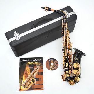 Alt Saxofon schwarz Gold Alto Saxophon Altsaxophon Black mit Koffer