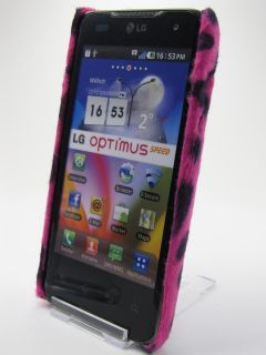 LG Optimus Speed P990 Hülle Hard Cover Case Tier Fell Stoff Kuh Rosa